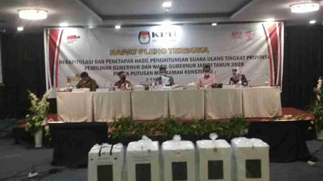 Pleno rekapitulasi PSU Pilgub Jambi oleh KPU Provinsi Jambi