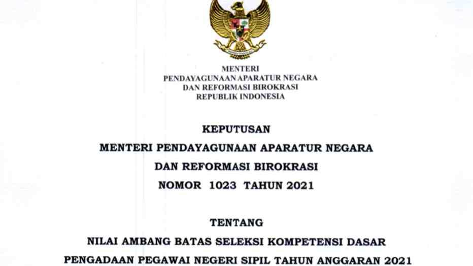 Nilai ambang batas seleksi CPNS 2021