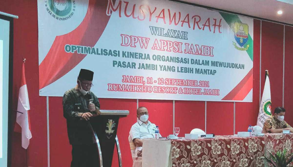 Wagub Abdullah Sani saat membuka Muswil DPW APPSI Provinsi Jambi