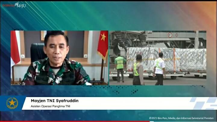 Mayjen TNI Syafruddin memberikan keterangan pers menyambut kedatangan vaksin