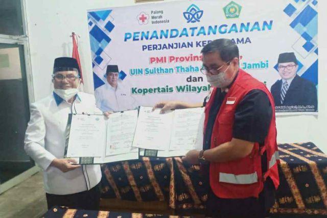 PMI Jambi Jalin Kerjasama dengan UIN STS Jambi dan Kopertais Wilayah III Jambi