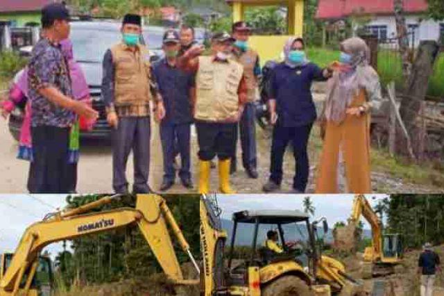 Wabup Kerinci dan Sekda Asraf Tinjau Lokasi Tanah Longsor di Desa Baru Sungai Deras
