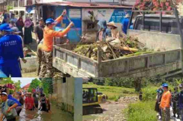 Pasca Banjir, Pemkab Kerinci Gotong Royong Bersama Masyarakat 3 Desa Tanjung Tanah
