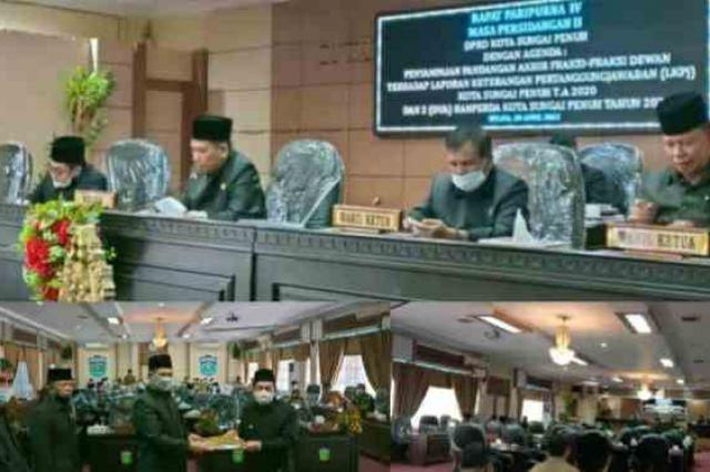 Gelar Paripurna, DPRD Kota Sungai Penuh Terima LKPj Pelaksanaan APBD 2020