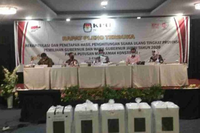 Hasil Pleno PSU Pilgub KPU Provinsi Jambi, Haris-Sani Tetap Unggul