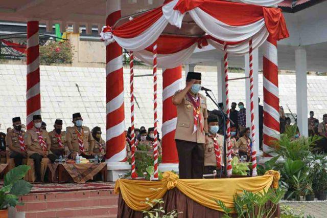 Gubernur Al Haris Pimpin  Upacara Hari Pramuka ke-60 di Tebo