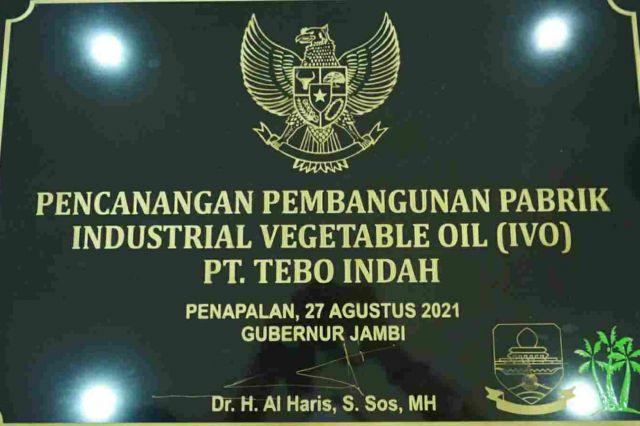 Gubernur Al Haris Resmikan Pencanangan Pembangunan Pubrik IVO PT Tebo Indah