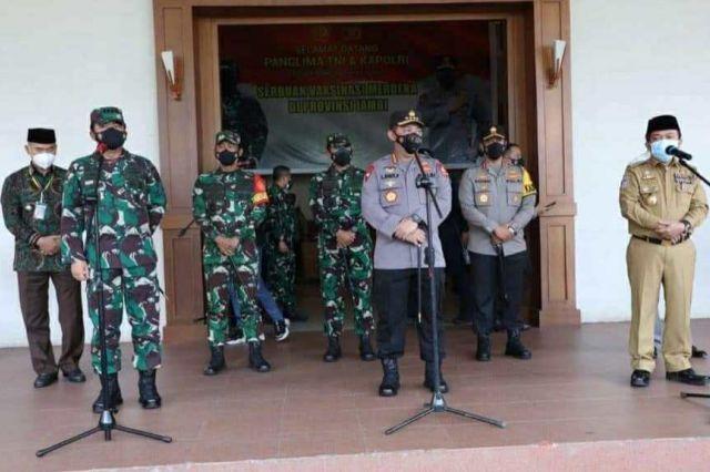 Gubernur Al Haris Paparkan Aksi Percepatan Penganganan Covid-19 kepada Kapolri dan Panglima TNI