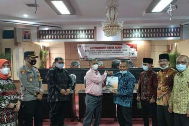 KPU Serahkan Hasil Pleno Penetapan Wako-Wawako Terpilih ke Sekretariat DPRD Sungai Penuh
