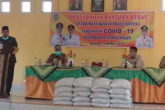 2.151 KK di Kecamatan Sarolangun Terdampak Corona Terima Bantuan dari Pemkab